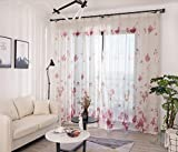 """Cozyholy Semi Sheer Floral Print Voile Curtains Poly Linen Textured Solid Color Grommet Curtains 140x240cm for Living Room Yard Balcony 2 Panels (Flowers, 55"""" x 94"""" x 2)"""