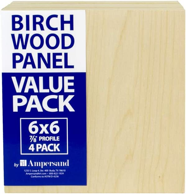 3 Boards per Package Ampersand Art Supply Birch Wood Painting Panel 8 x 10-inch w// 7//8 Profile Cradle Value Pack for Painting /& Pouring 8x10