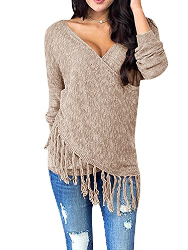 Womens Sweaters Long Wrap V Neck Off The Shoulder Fringe Knit Pullover Sweater Tunic Tops by Farktop