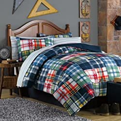 Blue, Green, Red, Orange, White, Yellow Plaid and Stripes Teen Boys Full 8 Piece Bed in a Bag
