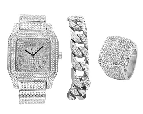 Diamonds Shining Everywhere with This 3pc Iced Jewelry Mens Hip Hop Set Oversize Square Case with Roman Numberal Dial Iced Cuban Bracelet and Iced Ring Fit for a King - 0513Silver 3pcs (8) by Charles Raymond