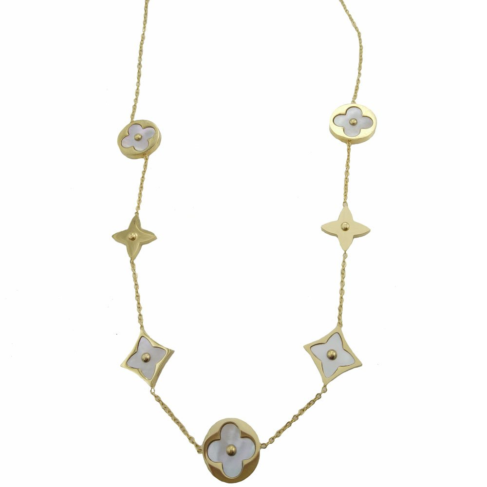 Baoliren White Shell Yellow Gold Round Multi Clover Women's Strand Necklace by Baoliren