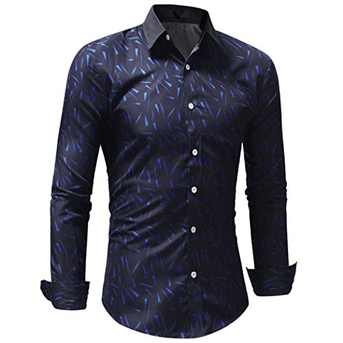 Men's Bamboo Fiber Dress Shirts Slim Fit Solid Long Sleeve Casual Button Down Shirts, Elastic Formal Shirts for Men (Blue, XXL) by OWMEOT