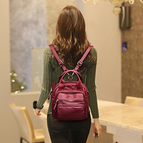 Washed Convertible Purse Xinwcang Handbags Ladies Crossbody PU Bag Shoulder Fashion Leather Red Rucksack Women Wine Casual Backpack wYwSxIC