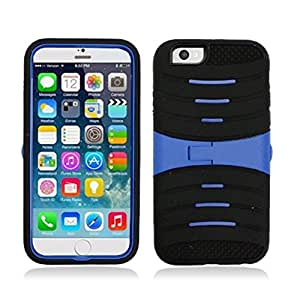 Iphone 6 for Apple Black with Blue Hard Cover Snap on Case w/ Horizontal Kickstand