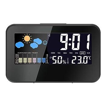 Compra Fangfeen Fecha Hora eléctrica del Escritorio del Calendario del Reloj Reloj de Escritorio de Alarma Pantalla LCD Colorido Control de Sonido Reloj ...