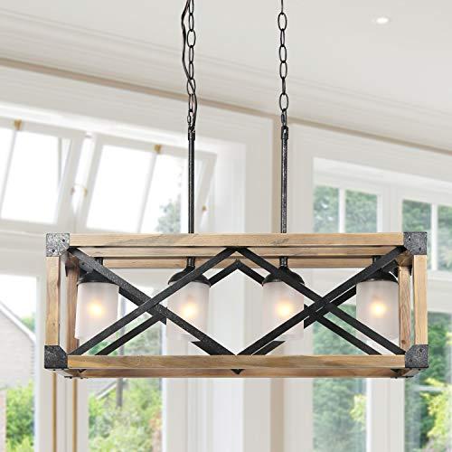 "Farmhouse Kitchen Island Lighting, 4-Light Wood Hanging Light Fixture, Rectangular Chandelier for Dining Rooms, 27.5""L x…"