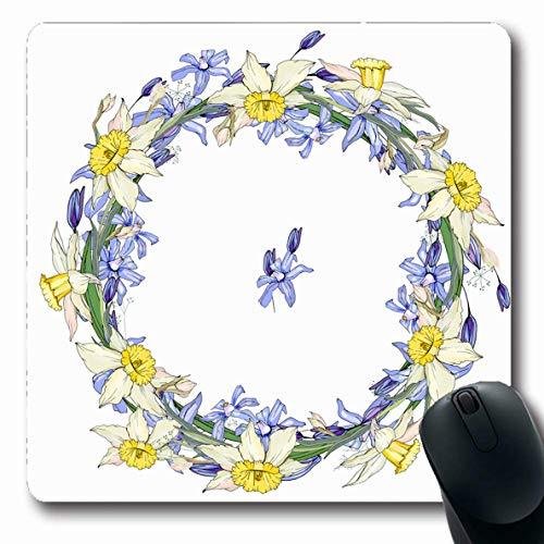 LifeCO Computer Mousepad Blue Round Garland Spring Flowers Scilla Nature Daffodils April Yellow Bloom Bunch Circle Clip Curve Oblong Shape 7.9 x 9.5 Inches Oblong Gaming Non-Slip Rubber Mouse Pad Mat