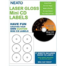 NEATO LaserGloss Mini CD Labels - 300 Pack - CLP-192347 - Online Design Access Code Included