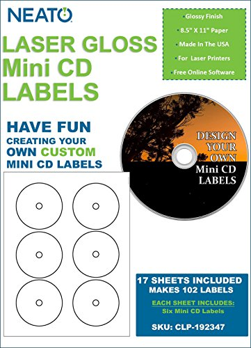 Disk Label Template (NEATO LaserGloss Mini CD Labels - 300 Pack - CLP-192347 - Online Design Access Code Included)