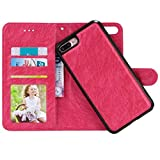iPhone 7 Plus Case, Zmiq [2 in 1] Detachable PU Leather iPhone 7 Plus Wallet Case Flip Phone Case Cover with Magnet Closure for iPhone7 Plus 5.5inch (7Plus Rose red FGW)