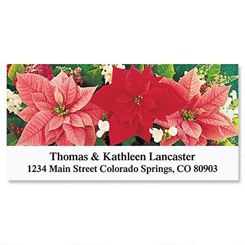 (Poinsettia Trio Self-Adhesive, Flat-Sheet Deluxe Address Labels)