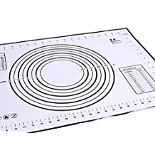 Baking Mat, KOOTIPS Premium Non-slip Silicone Pastry Mat Extra Large with Measurements 16 x 23.5 inch for Silicone Baking Mat Counter Mat Dough Rolling Mat Oven Liner Pie Crust Mat (Black)