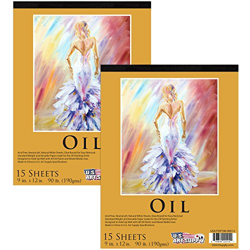 U.S. Art Supply 9'' x 12'' Premium Heavy-Weight Oil Painting Paper Pad, 90 Pound (190gsm), Pad of 15-Sheets (Pack of 2 Pads) by US Art Supply