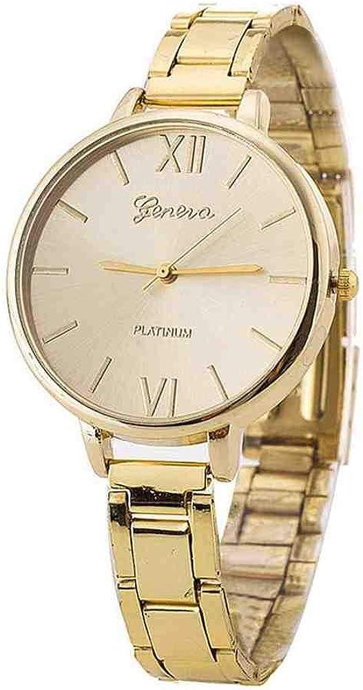 DSNGZ Reloj de Pulsera Geneva Ladies Watches Stainless Steel Quartz Wrist Watch Reloj Fashion Simple Analog Alloy Women Watches Bracelet Clock Reloj533