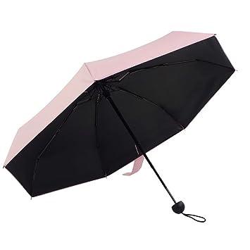 QETU Paraguas Plegable Mini, Sombrilla De Goma Negra Sombrilla Señora, Paraguas De Goma Negra