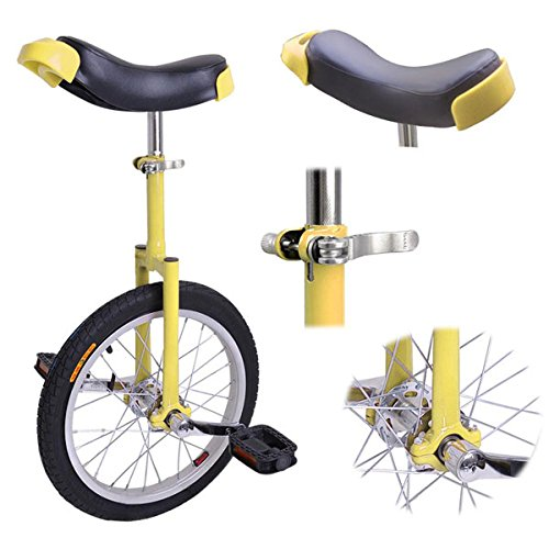 16'' Inches Wheel Skid Proof Tread Pattern Unicycle W/ Stand Uni-Cycle Bike Cycling YELLOW