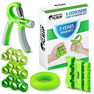 Hand Grip Strengthener Forearm Grip Workout Kit - 4 Pack - Adjustable Hand Gripper Resistance Range of 22-88lbs Finger Exerciser Finger Stretcher & Exercise Ring + HD Video Manual -3 Years Warranty