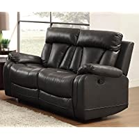 Homelegance 8500BLK-2 Double Reclining Loveseat, Bonded Leather Match, Black