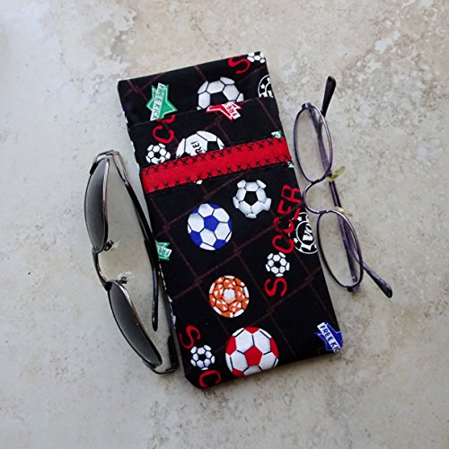 Double Eyeglass Case,Purse for Glasses,Holds 2 Pairs,Gift for Soccer Fan (Double Case Case Football)