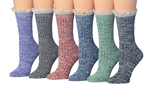 Blend Sock Boot (Tipi Toe Women's 6-Pack Cotton Blend Ragg Space Dye Lace Crew Winter Boot Socks Hiking Socks, Size 9-11, BT25-6)