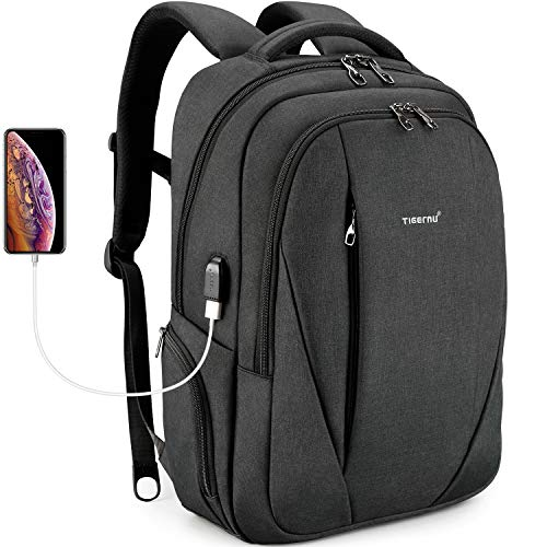 Tigernu Laptop Backpack Business Backpack with USB Charging Port Computer Backpack with Laptop Compartment Anti-theft Waterproof for Travel School Business Men Women Fit Under 15.6 inch Laptop/Macbook