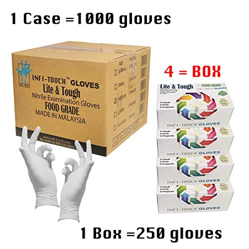 Infi-Touch - Food Safe - Prop 65 Compliant, Lite Duty Nitrile Gloves, Lite & Tough, Disposable Gloves, Powder-Free, Non Sterile, Ambidextrous, Finger Tip Textured (1 Case, X-Small) by Infi-Touch (Image #1)