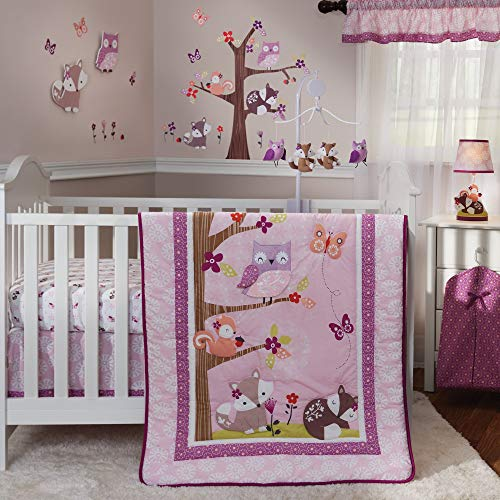 Bedtime Originals Lavender Woods 3-Piece Crib Bedding Set - Pink, Purple