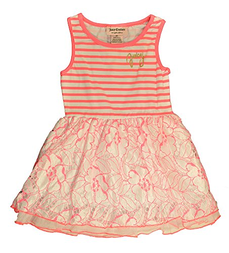 Juicy Couture Little Girls' Toddler Stretch Jersey Stripe Dress with Lace and Mesh on Skirt, Multi, 3T (Couture Juicy Party Girl)