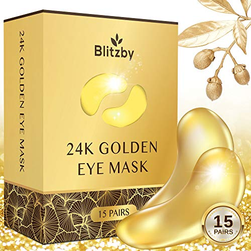 Natural Gold Gel Eye Mask, Collagen Anti-Aging Under Eye Patches, Reduce Wrinkles, Fine Lines, Puffiness, Crow's Feet, Dark Circles - 15 Pairs