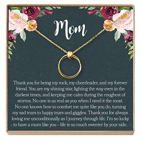 Dear Ava Mom Gift Necklace: Mother Daughter Jewelry, Thank You Mom, 2 Linked Circles (Gold-Plated-Brass, NA)