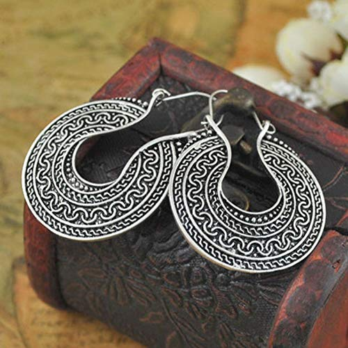 Dangle Carved Jewelry Silver Tibetan Round Hoop Tribal Earrings ()