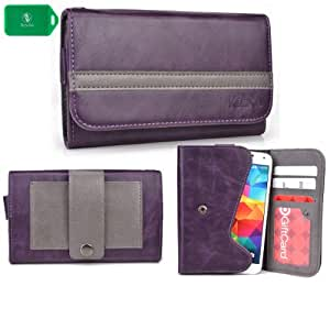 EXCLUSIVE * UNISEX * SMARTPHONE HOLDER WITH INTERNAL CARD SLOTS- ADDED BELT LOOP FOR EASY CARRYING- - PURPLE/GREY - FITS s757