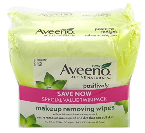 Aveeno Make-Up Remover Wipes 25 Count (TWIN PACK) Radiant (6 Pack) by Aveeno