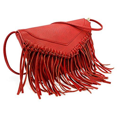 Handbag Messenger Satchel Crossbody Tassel Wine Shoulder Purse Ladie Oct17 Women Leather Flap Red Bag Faux Vintage Hw7APv1