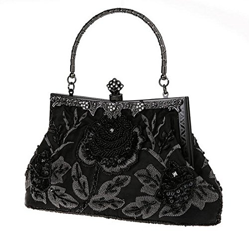 Clutches Wedding SEALINF Party Bridal Women Embroidered Bead Wallet Large Rose Retro Handbags Black Bags Purse 4nIFvxqn