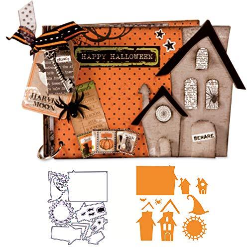 DeemoShop Metal Cutting Dies Building House Spider Bat Scrapbooking Background Dies Cut Stencil Mold Halloween Decorative