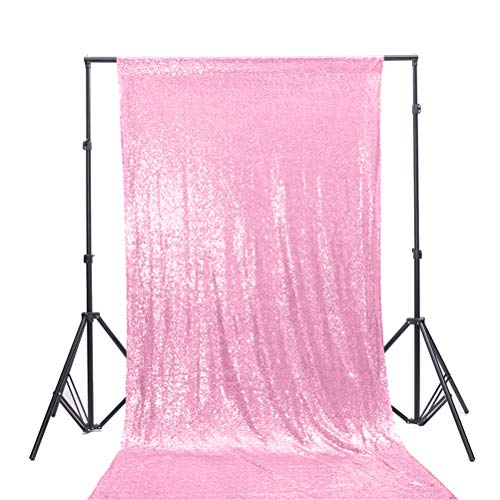 TRLYC 4Ft7Ft Blush Pink Sequin Photo Backdrop for Wedding and Party (Glitter Pink Curtains)