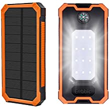 20000mAh Solar Power Bank ,Solar Charger External Backup Battery Pack Dual USB Solar Panel Charger with 1LED Light Carabiner Compass Portable for Emergency Outdoor Camping iPhone Android Cellphones