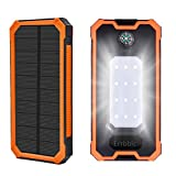20000mAh Solar Power Bank ,Solar Charger External Backup Battery Pack Dual USB Solar Panel Charger with 1LED Light Carabiner Portable for Emergency Outdoor Camping iPhone Android Cellphones
