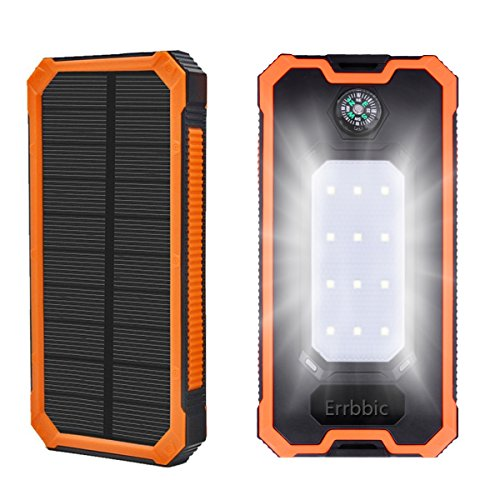 20000mAh Solar Power Bank Solar Charger Waterproof Portable Battery Charger with Compass for iPad iPhone Android Cellphones (Orange) by Errbbic