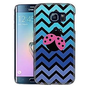 Samsung Galaxy S6 Edge Case, Slim Snap On Cover Chevron Teal Blue Lady Bug Black Case