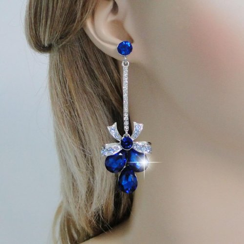 Ever Faith - Plaqué Argent bowknot Goutte pendre Boucles d'oreilles Cristal Autrichien Bleu N01998-5