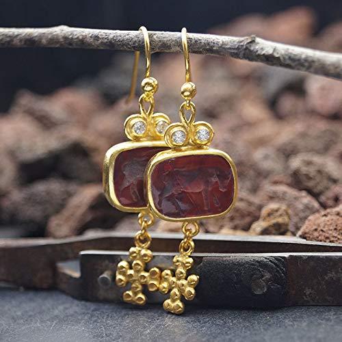 Turkish 925k Silver Beautiful Venetian Bull Intaglio Cross Charm Earrings 24 k Gold Plated Handmade By Omer