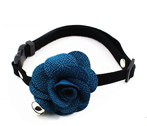 PetFavorites&Trade; Designer Rose Flower Suede Leather Bow Tie Pet Cat Dog Collar Necklace Jewelry Bell Charm Pets Cats Extra Small Dogs Female Puppy Yorkie Girl (Navy Blue, Size: 6