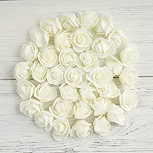 """Tableclothsfactory 36 pcs 2"""" Cream Real Touch 3D Artificial DIY Foam Rose Flower Head for Walls Backdrops Centerpieces Decoration 81"""