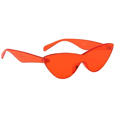 948415f00f0b Homyl Vintage Transparent Rimless Cat Eye Sunglasses Candy Colored UV  Protection For Women - Red,