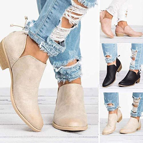 Pu Negro Zapatos Botas Minetom Mujeres Casual Puntera Bootie Moda Elegante Sólido Tacón Cremallera Otoño Redonda Boots Ancho wBXwOx
