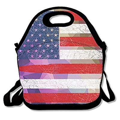 Ammo Guns Bullet USA Flag Lunch Tote Insulated Reusable Picnic Lunch Bags Boxes For Men Women Adults Kids Toddler Nurses