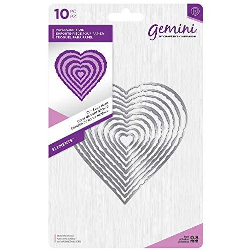 (Gemini Elements-Torn Edge Heart, Silver, Various)